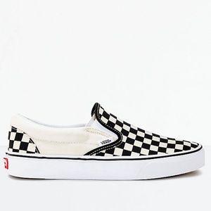 536645345a500d Vans Slip-On Black   White Checkered Skate Shoes